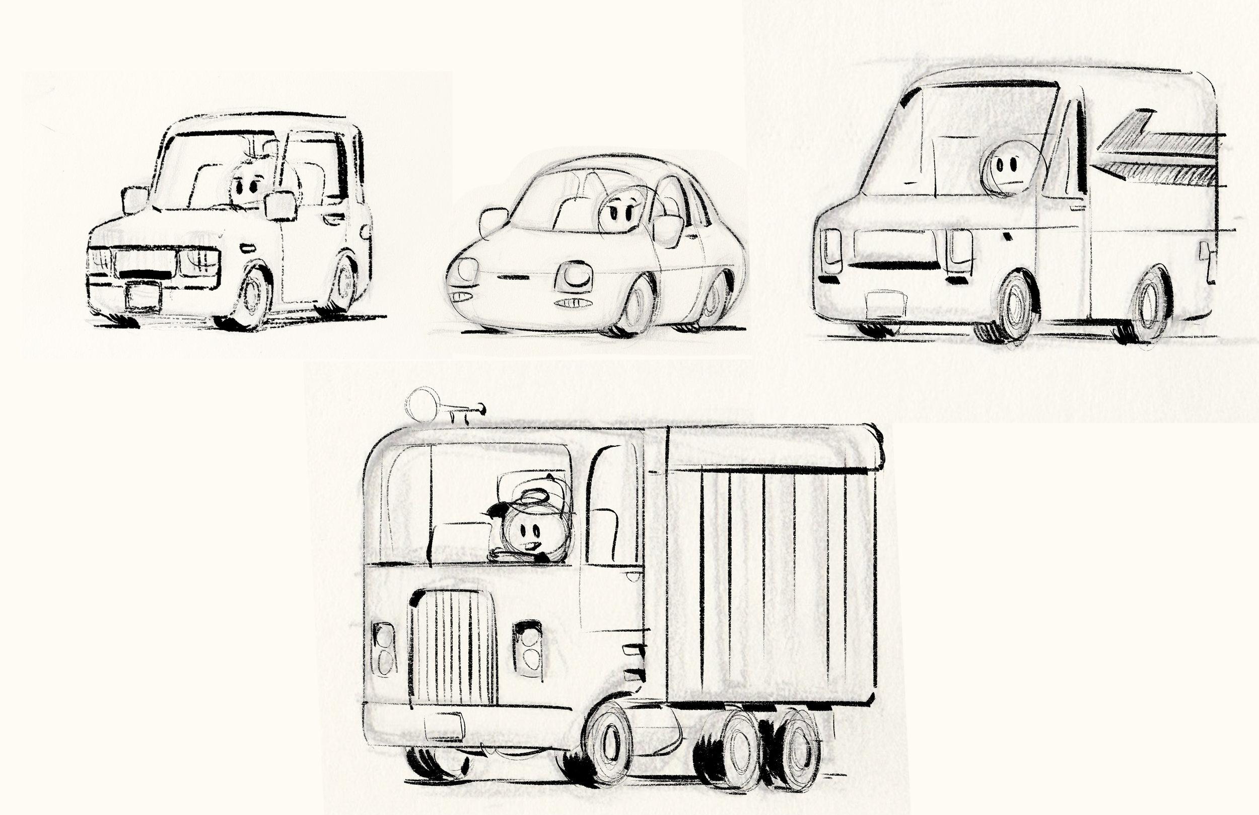 My crappy Emoji vehicle ideas that Yashar Kassai took and turned into wonderful designs.