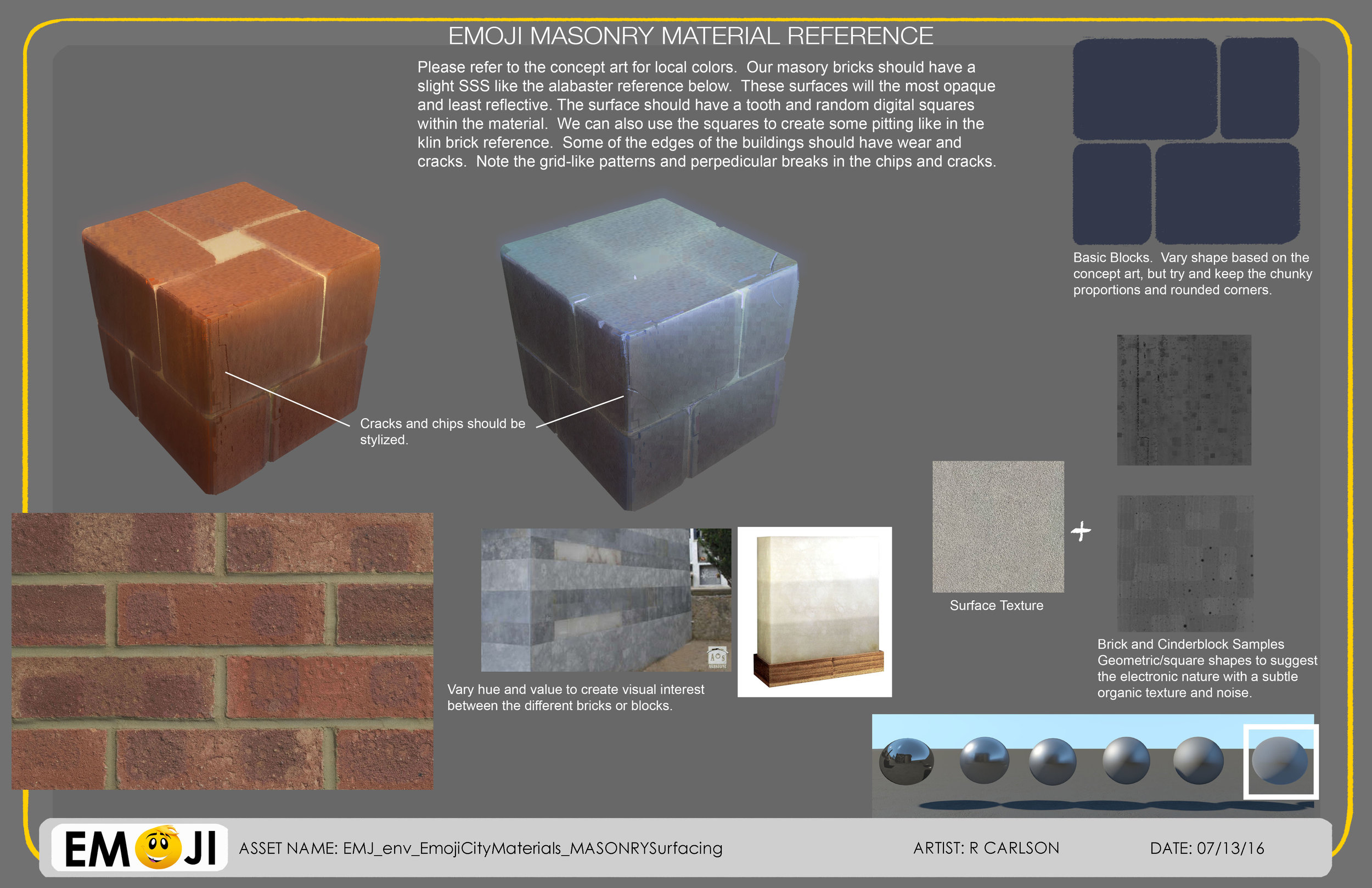 Pages from the Material Styleguide I created for the art department and Imageworks.
