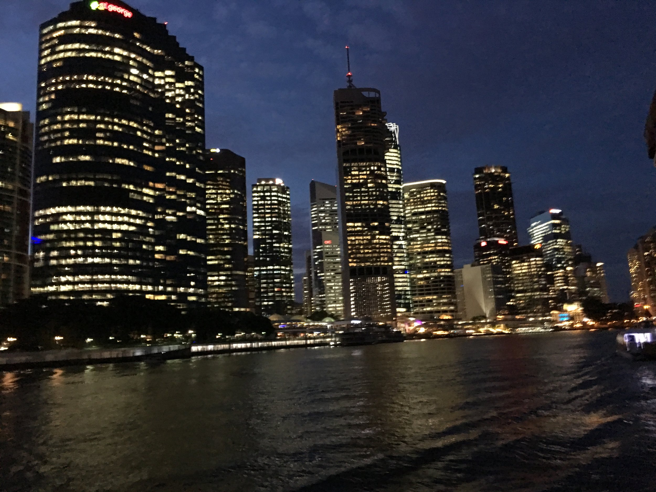 Brisbane skyline at night. Louise Teo