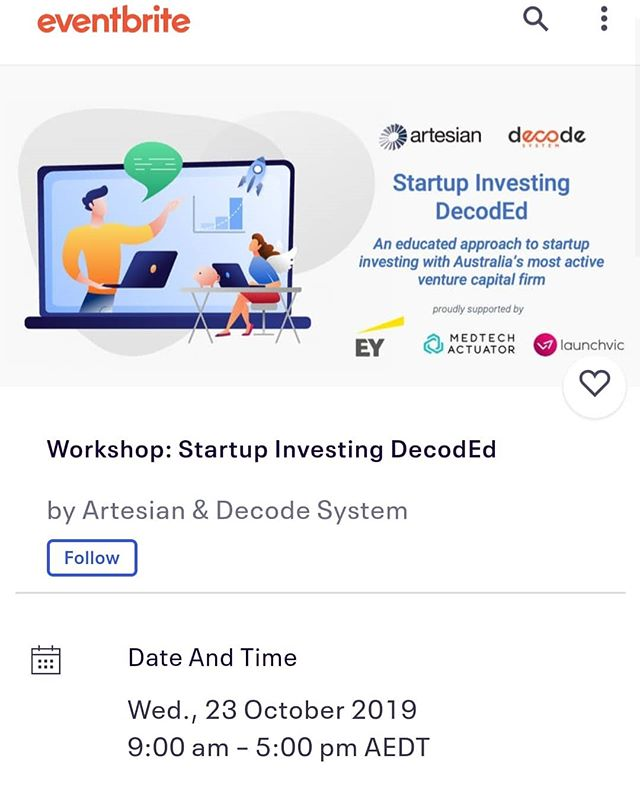 "Want to learn about investing in #healthtech? Artesian and Decode System are running Introduction to Startup Investing workshops in October and November- and they've given us the code ""Decode"" if you'd like to attend for free! Simply put the code in before checkout - limited spots available. These workshops are normally $350 to attend, and are geared specifically towards #medtech and healthtech. Tag a friend who may be interested!  Image from eventbrite.com.au/e/workshop-startup-investing-decoded-tickets-71616574101  #startups #angelinvesting #womeninstem #digitalhealth #ehealth #medicalentrepreneurship #startupeducation #alwayslearning #careergoals #themedicalstartup @medtechactuator"