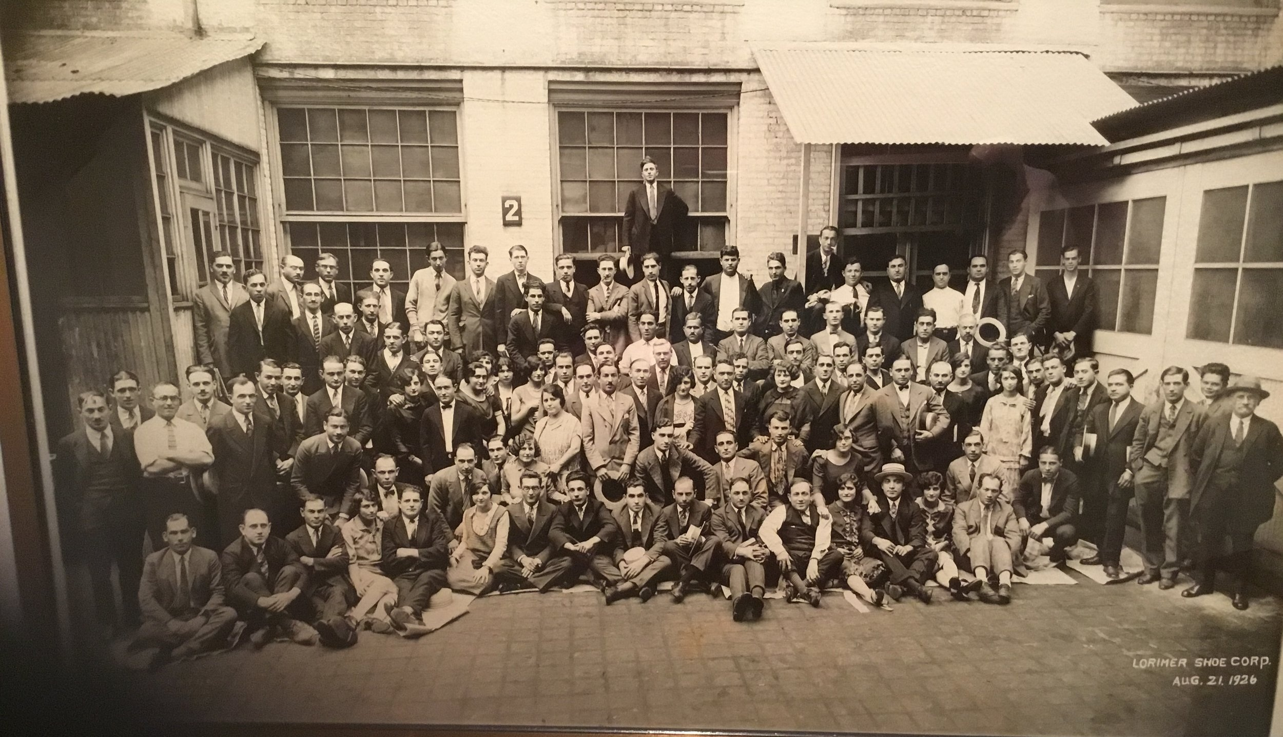 Sol & George and their employees at Lorimer Shoe Factory, August 1926