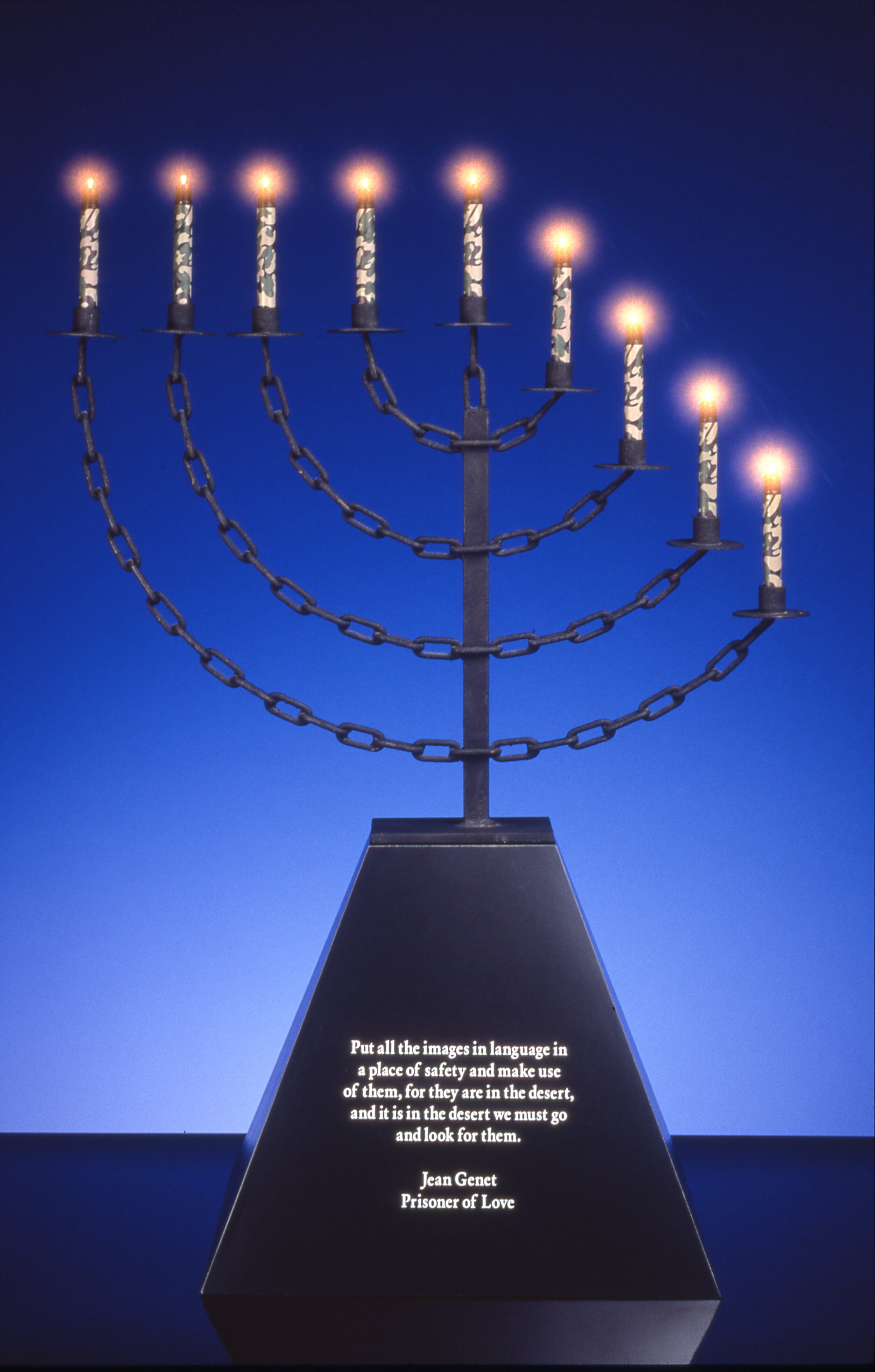 Bondage Menorah,  1997  Metal, Black Formica Base with Jean Genet Text, U.S. Issue Camouflage Mini-Maglites  41 1/2 x 30 x 16 1/2 inches