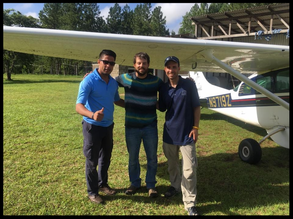 Esau, a Honduran national associate for MAG, and our two MAG pilot/mechanics, Paul and Sean. At Rus Rus to begin the flight back to the US.
