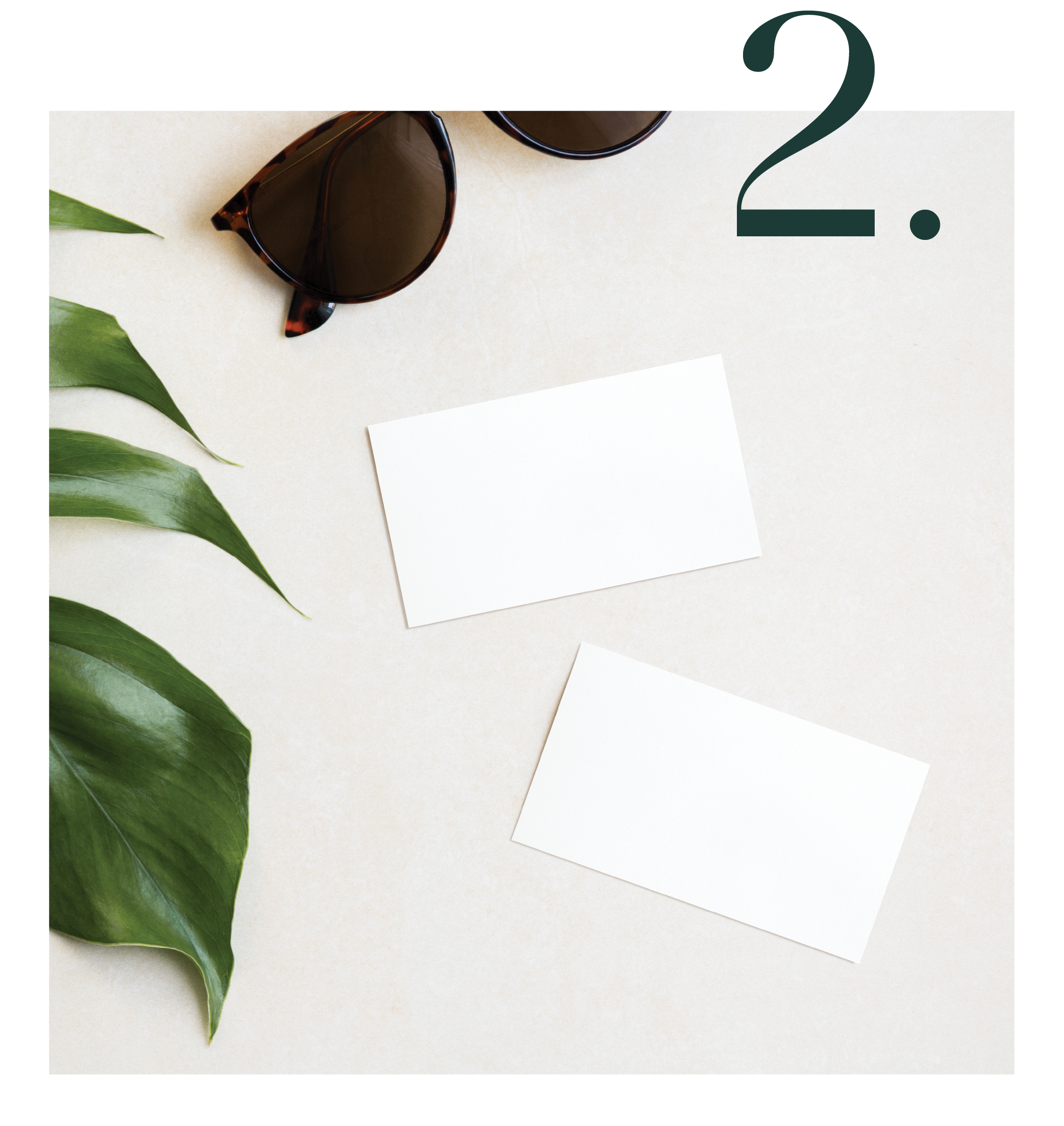 Graphic shows 2 white business cards next to a large tropical leaf and a pair of sunglasses, with the number 1 on top of the image to signify the first service offered by Salt Design Co.