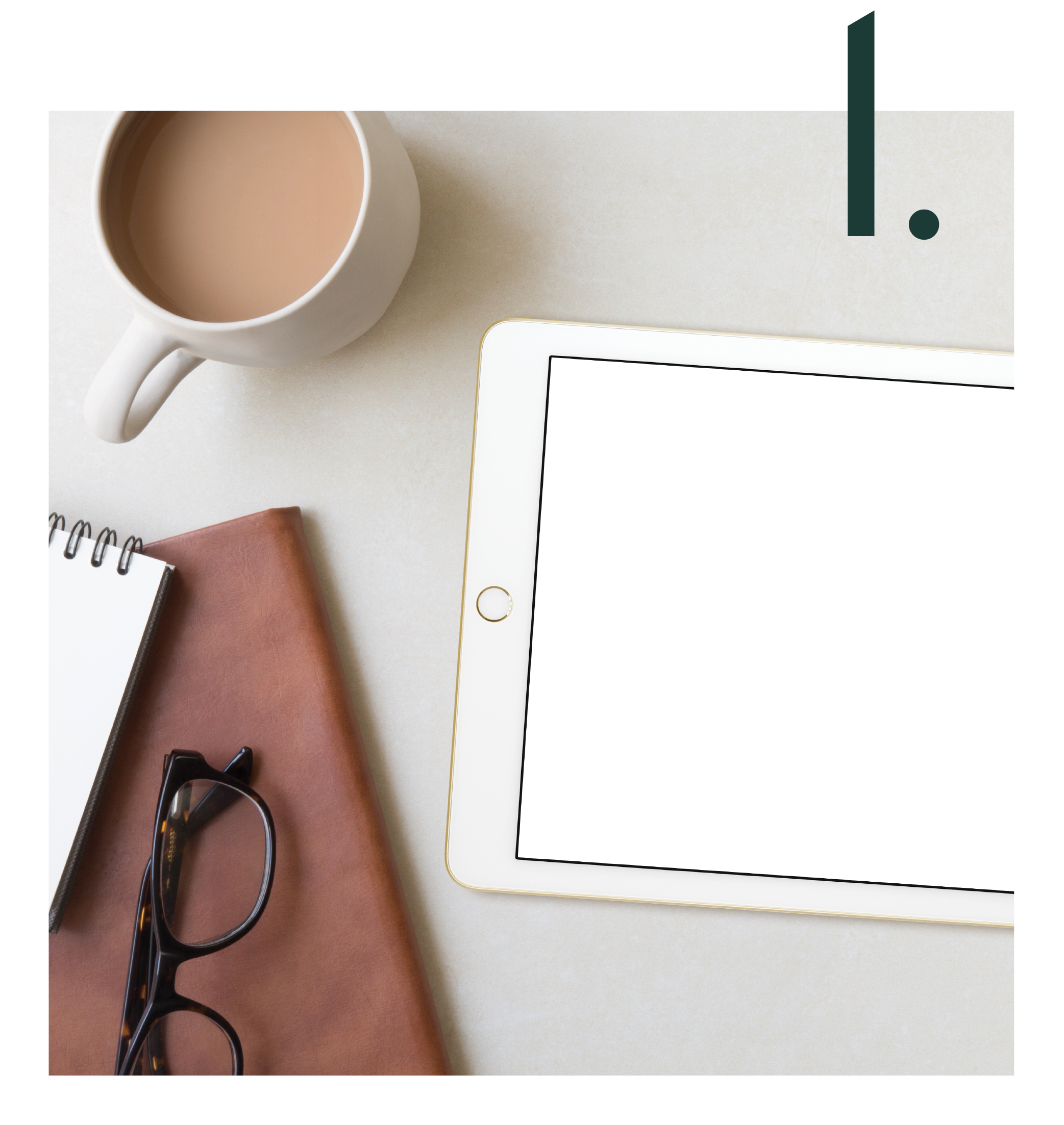 Graphic shows an iPad with a white screen, a cup of coffee, glasses a couple of notebooks with the number 2 on top of it to signify the second service offered by Salt Design Co.