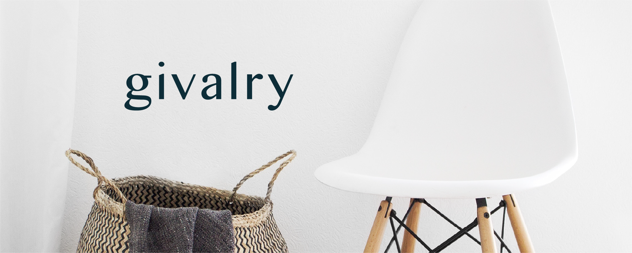 Givalry logo situated on top of an image of a brown wicker laundry basket with a dark purple blanket sitting on the edge, next to a white backed chair with light wooden legs.