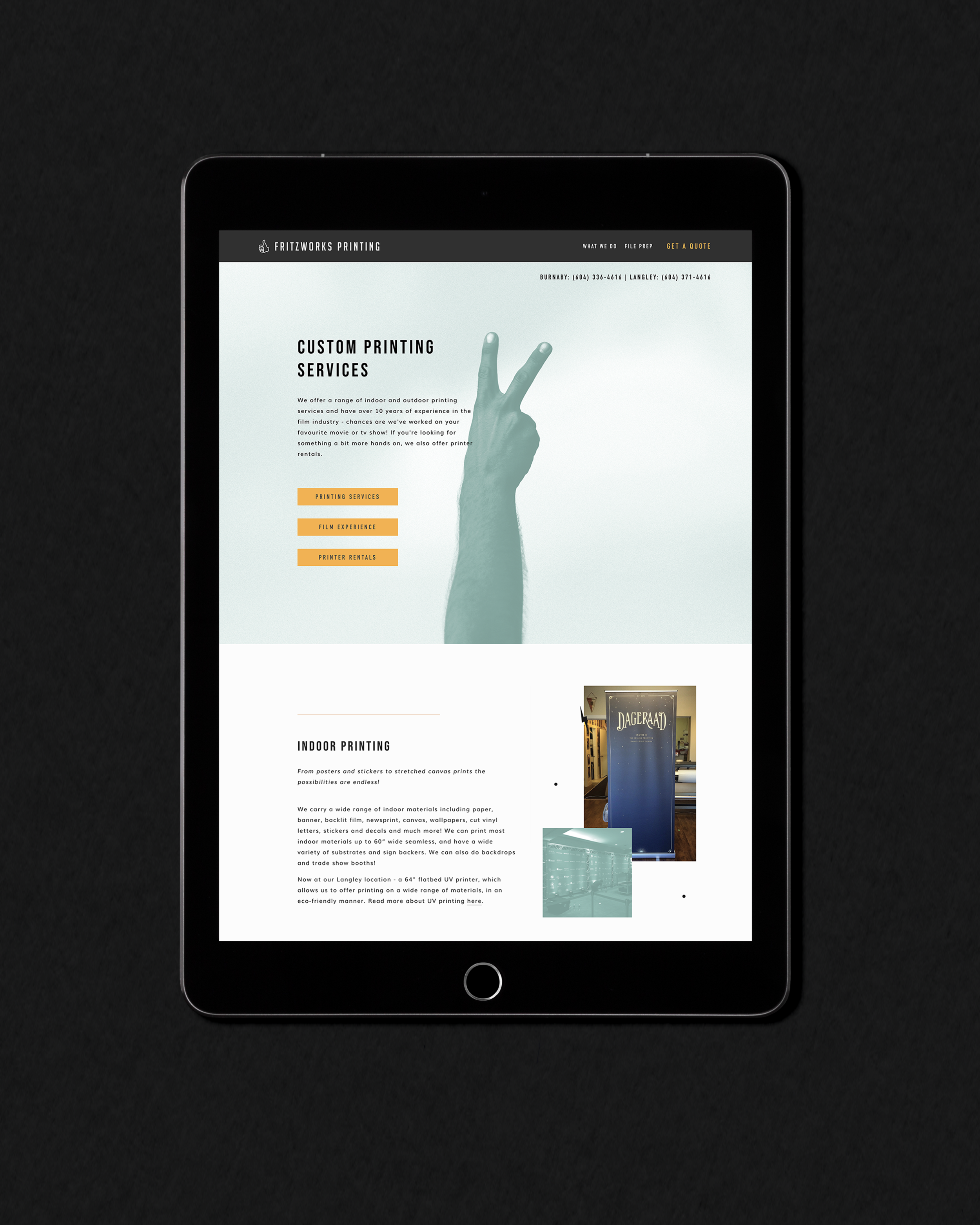 Custom Printing web page of Fritzworks Printing shown on a black iPad, designed by Salt Design Co.