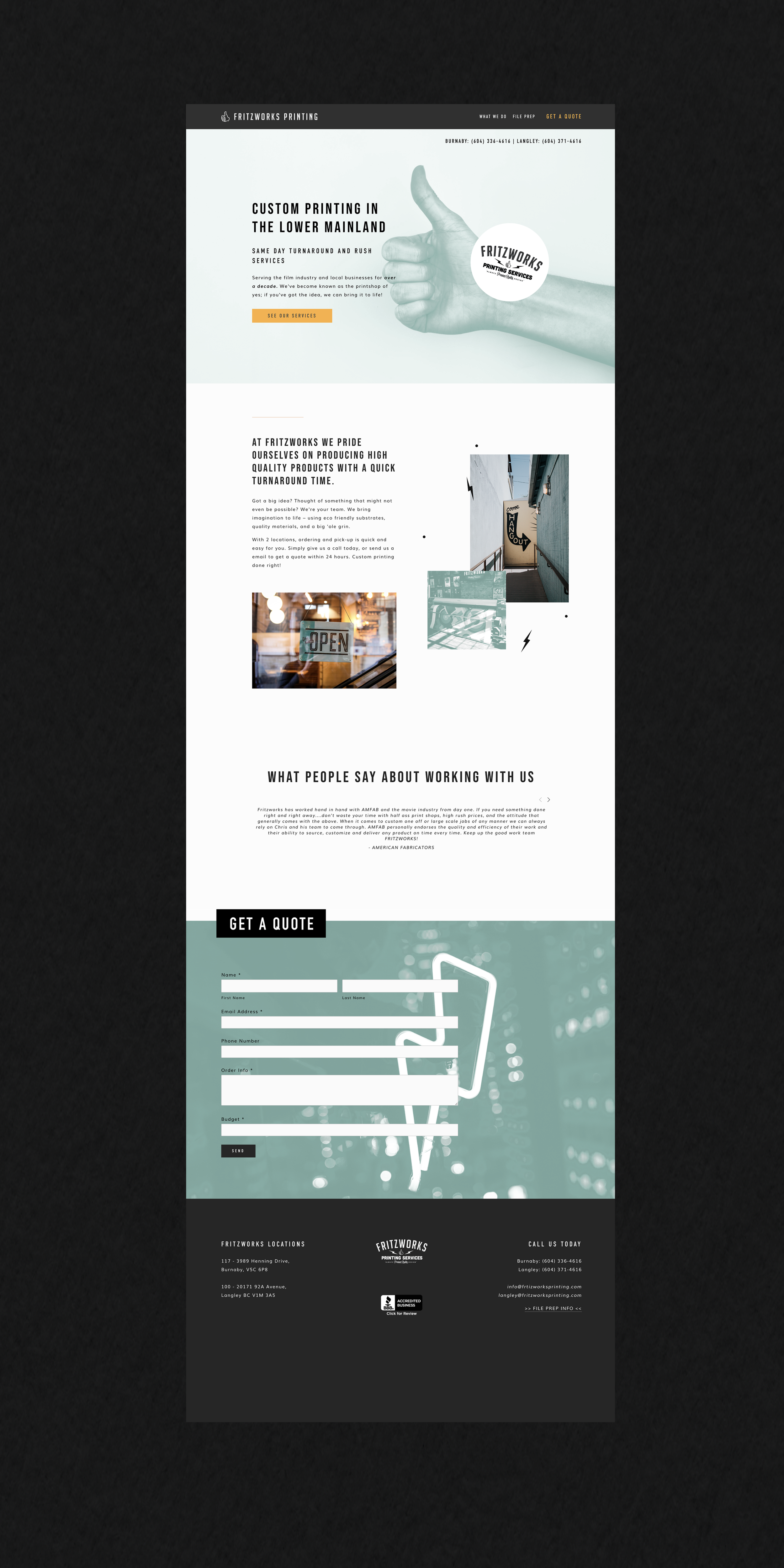 Fritzworks Printing homepage shown on a black background, designed by Salt Design Co.