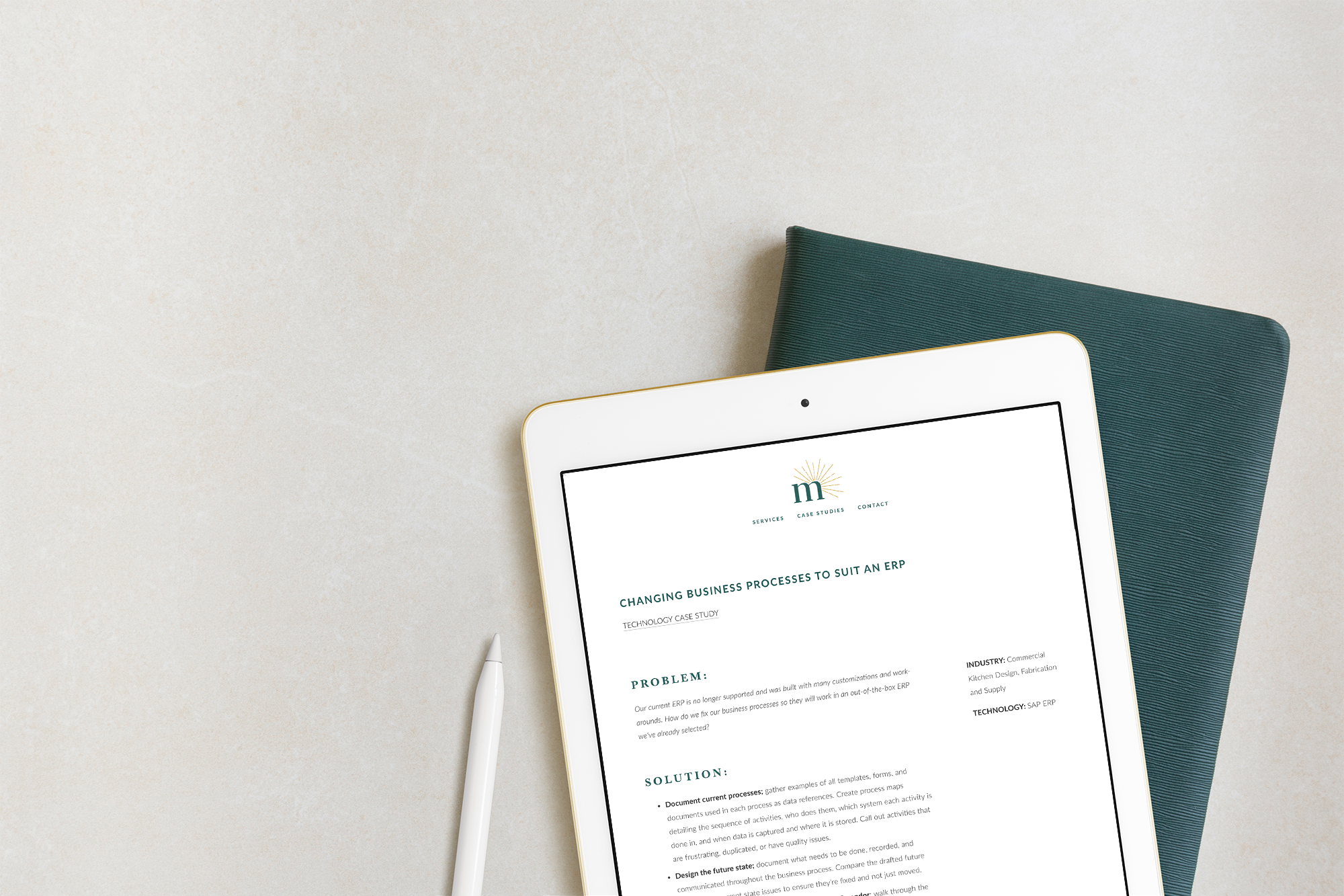 Case Study from Meira Consulting setup as a custon blog template on their Squarespace website. Shown on an ipad mockup with a green notebook.
