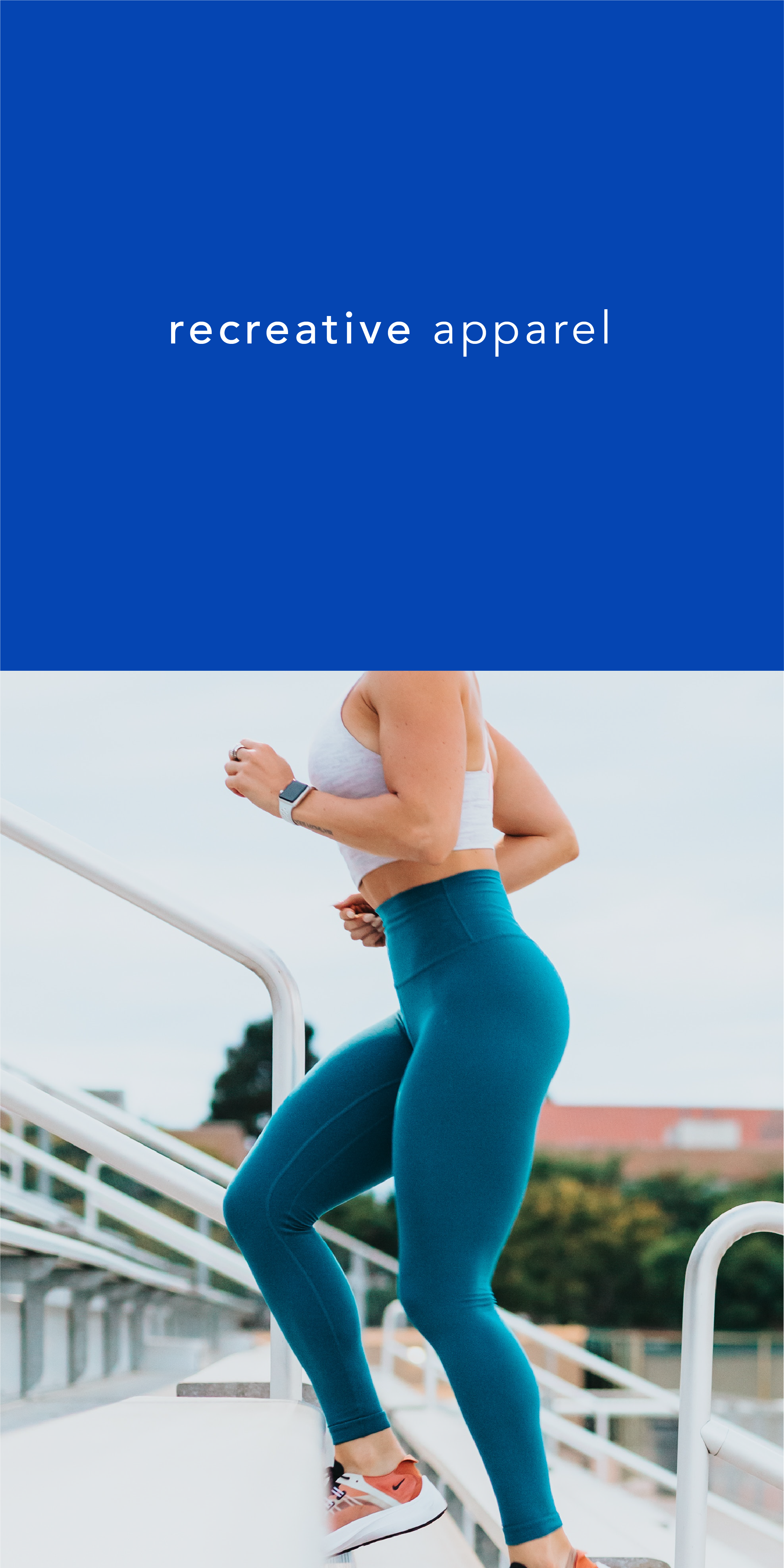 Recreative Apparel logo in bright blue and a photo of someone running up stairs