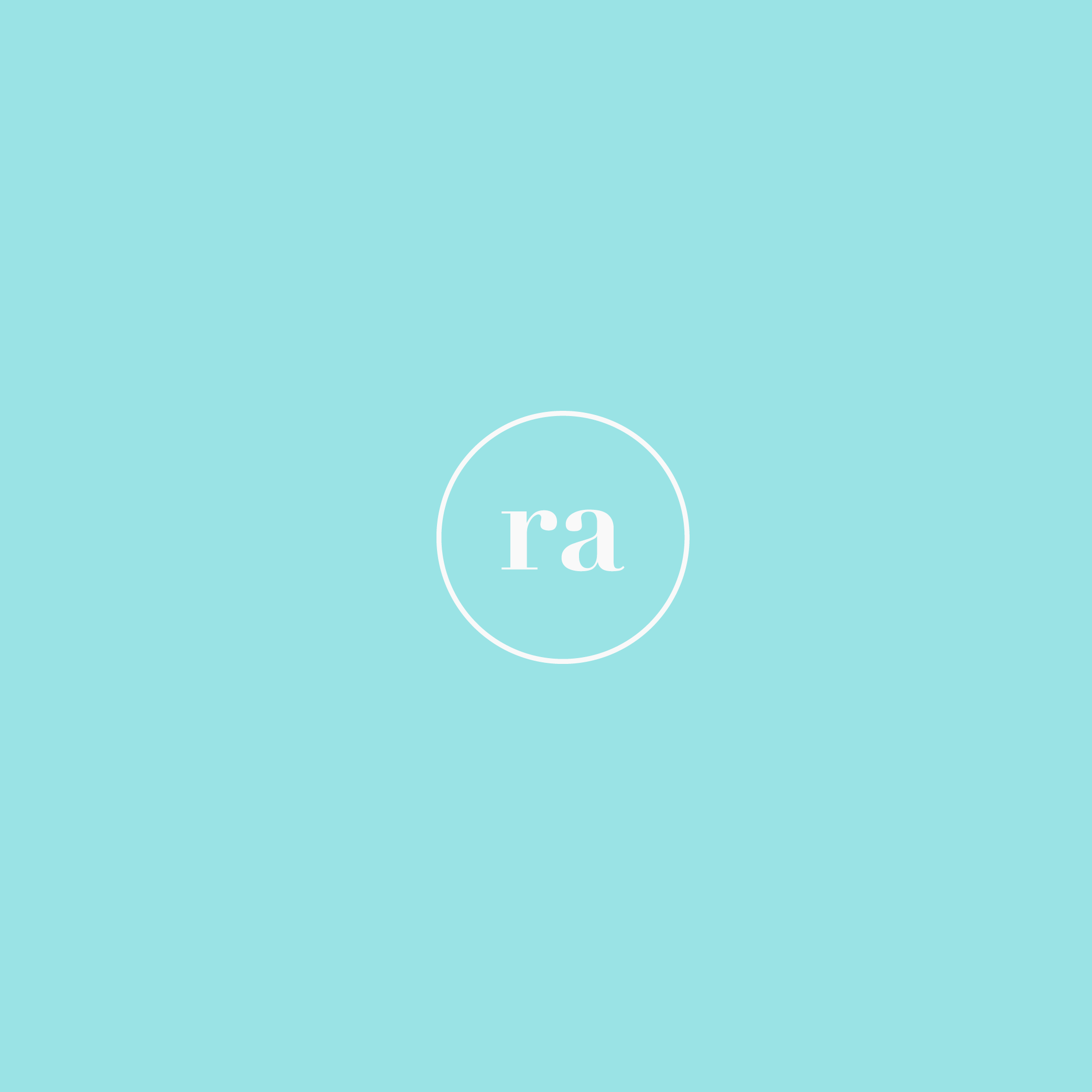 Recreative Apparel monogram in a white outline circle on a bright light blue background