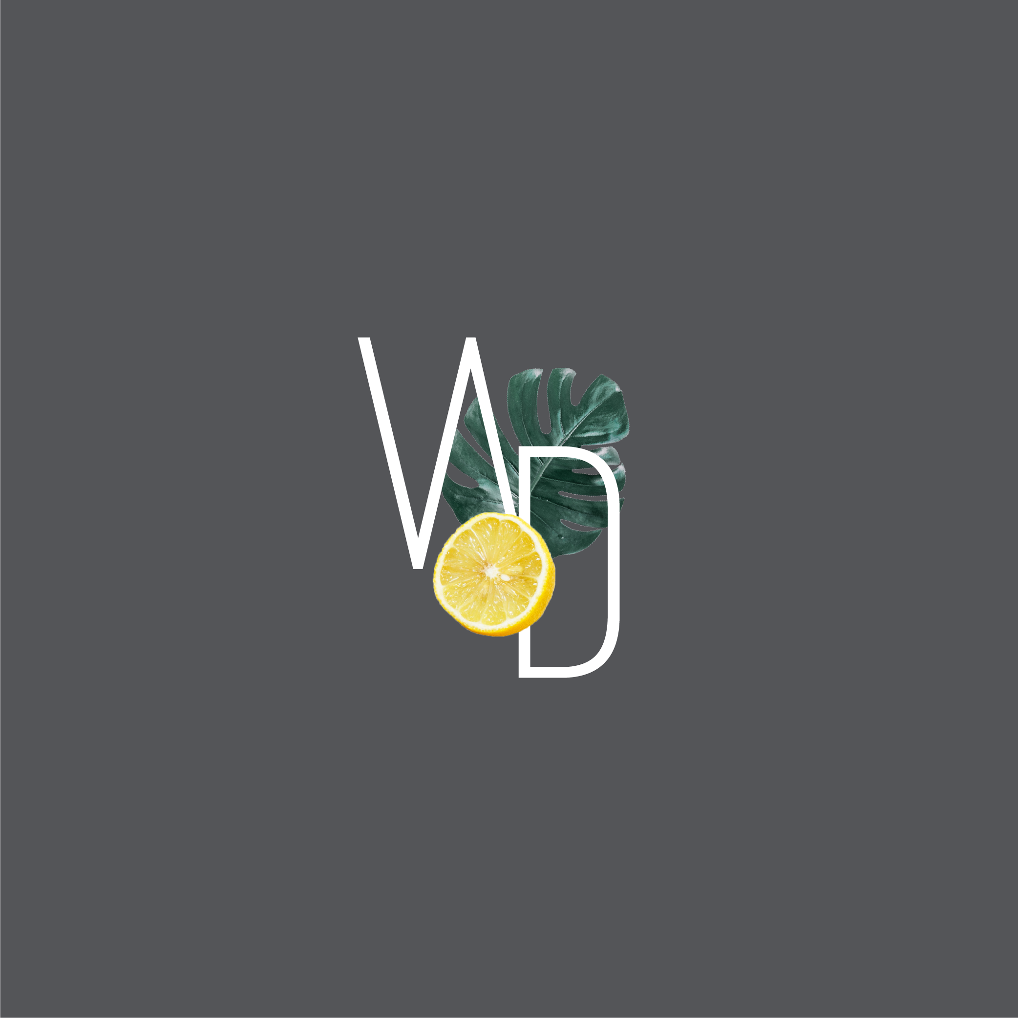 Well Daily 'WD' monogram with a tropical leaf and lemon incorporated into the logo on a charcoal background.