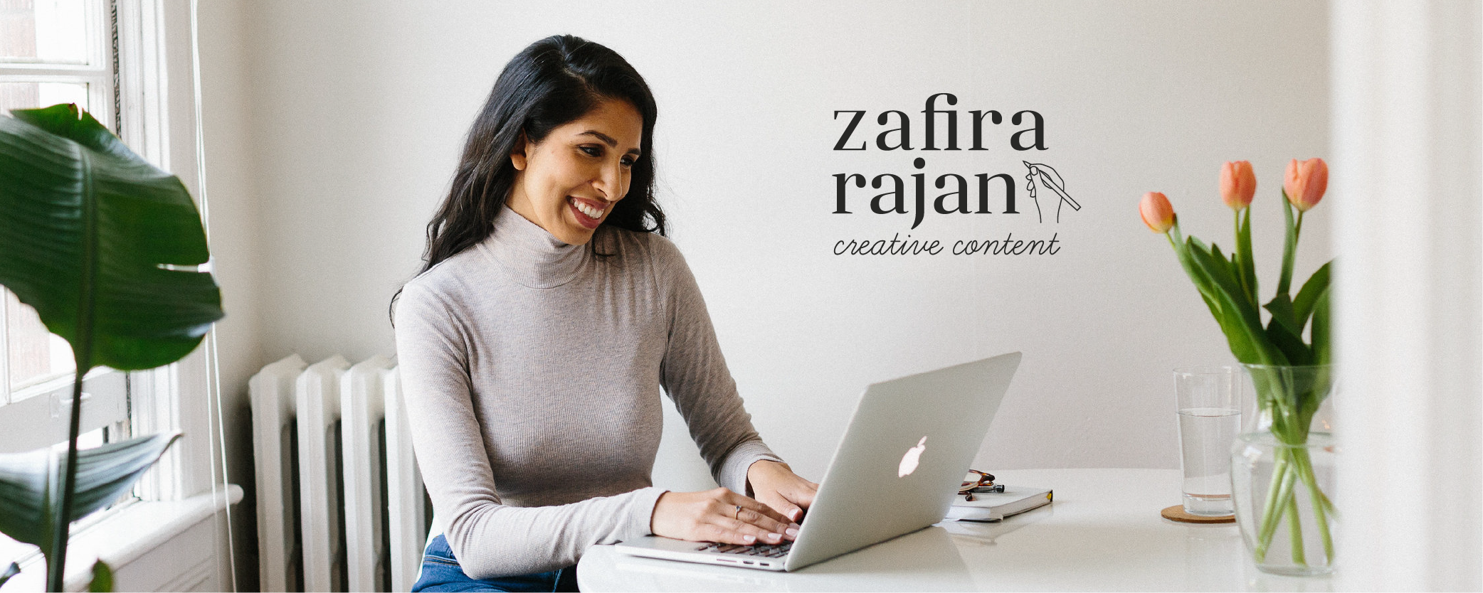 Photo of Zafira Rajan by Alexa Mazzarello Creative with logo designed by Salt Design Co. on top of the photo.