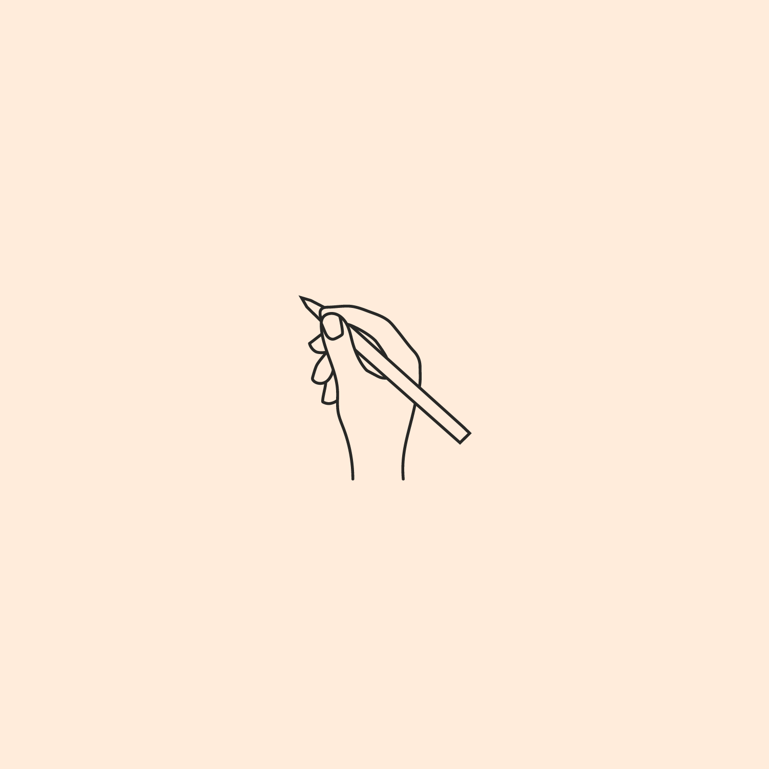 Line icon of hand with pencil for Zafira Rajan by Salt Design Co.