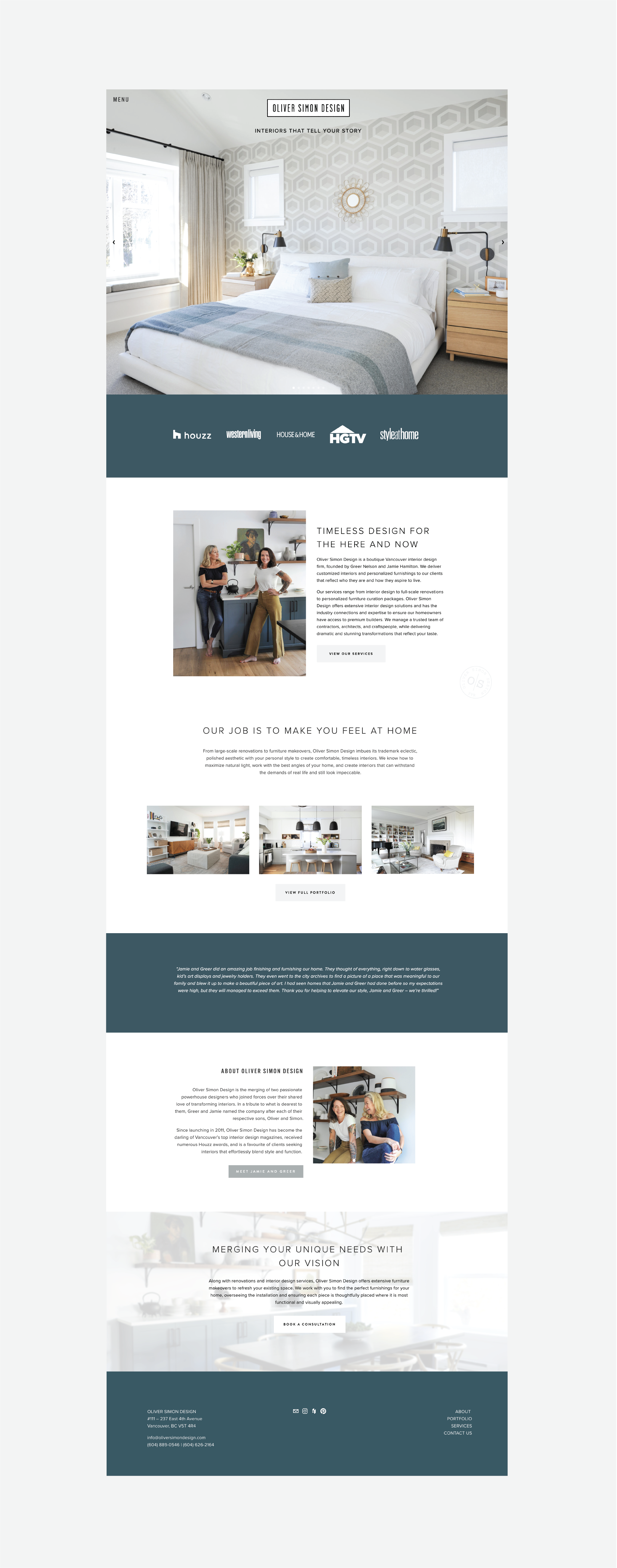 Image shows the full homepage of Oliver Simon Design's homepage - with lots of large photos of interiors designed by them and photos of designers Jamie and Greer