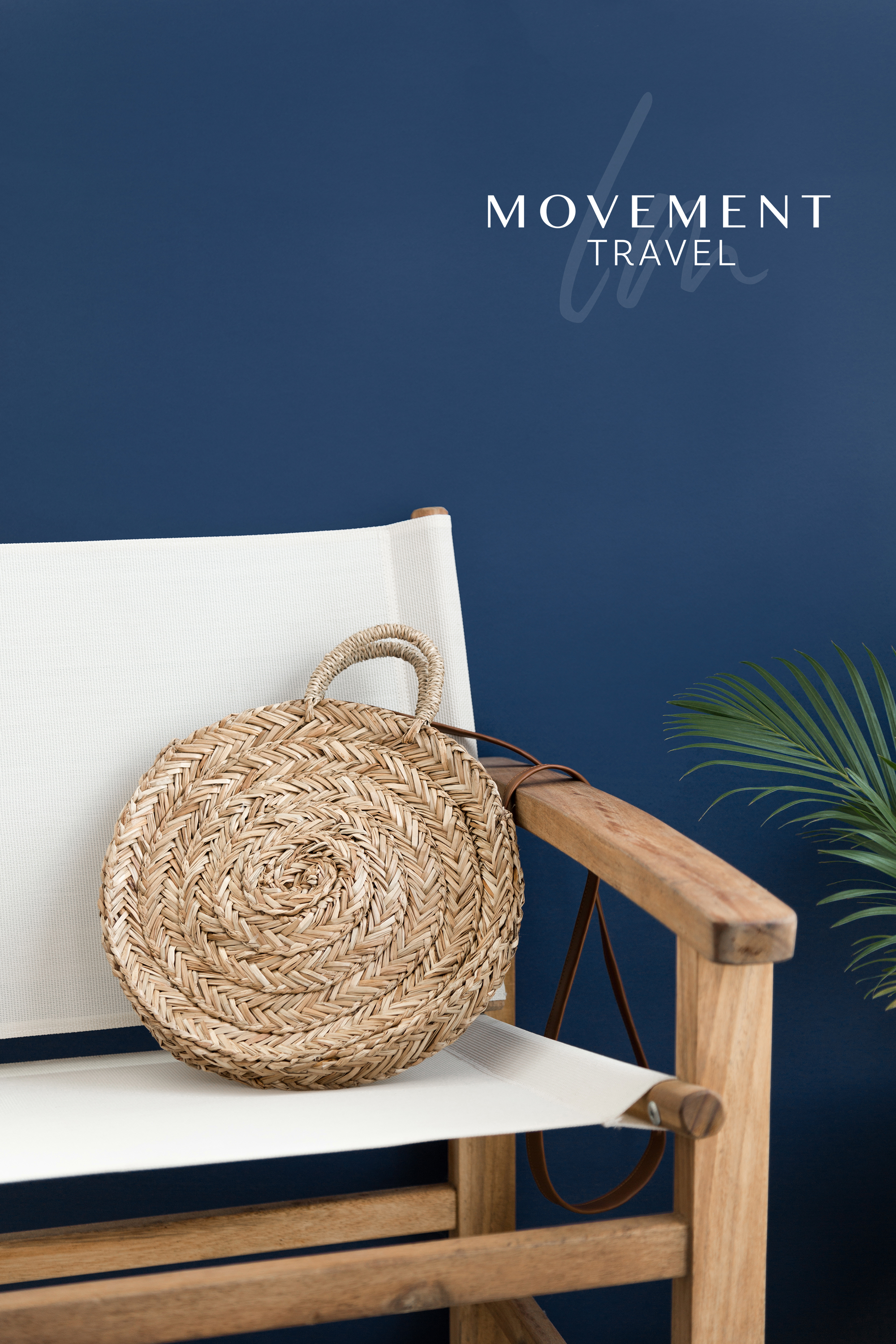 LM Movement Travel main logo on a photo of a beach chair in front of a blue wall