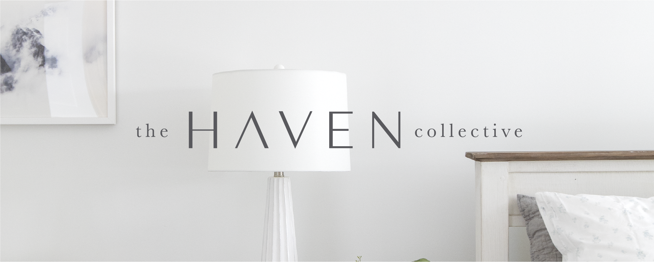The Haven Collective logo on a photo of a bedroom