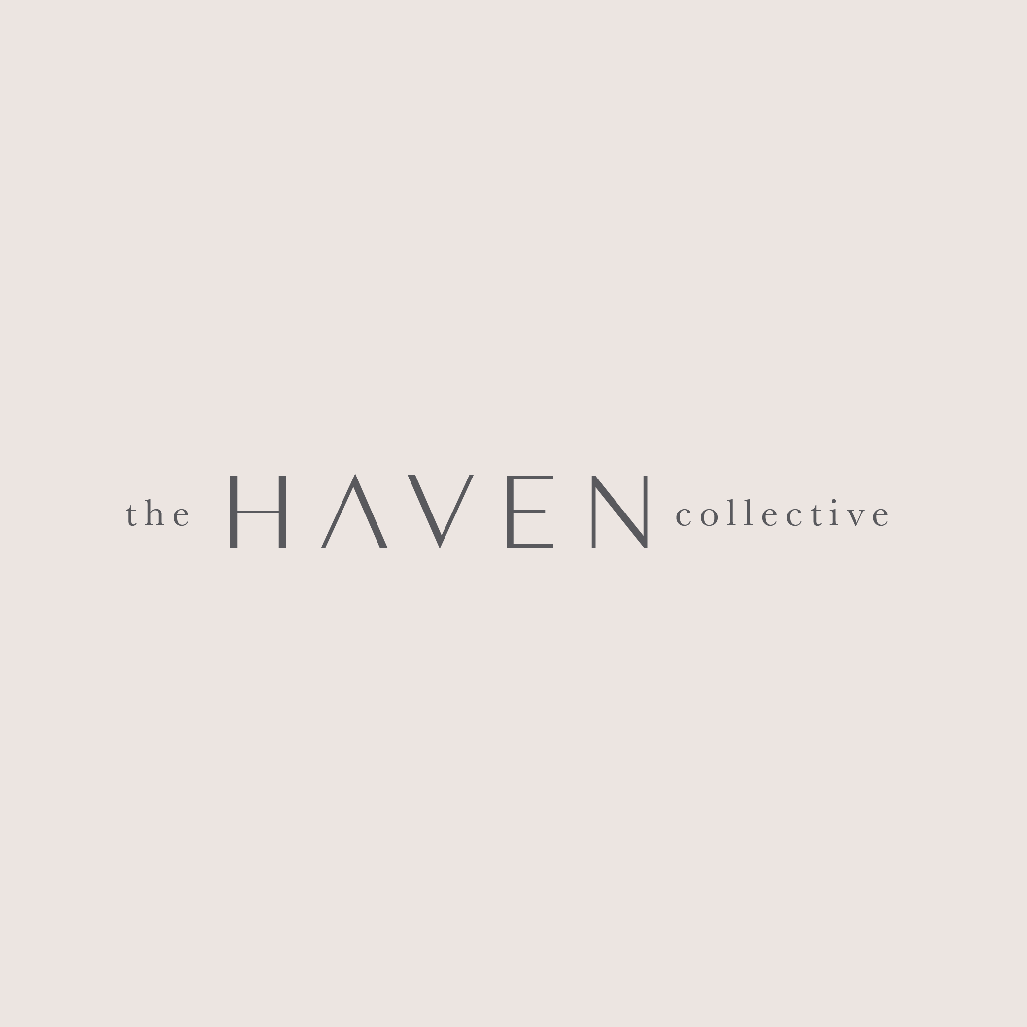 updated Haven Collective logo in grey on a soft pink background