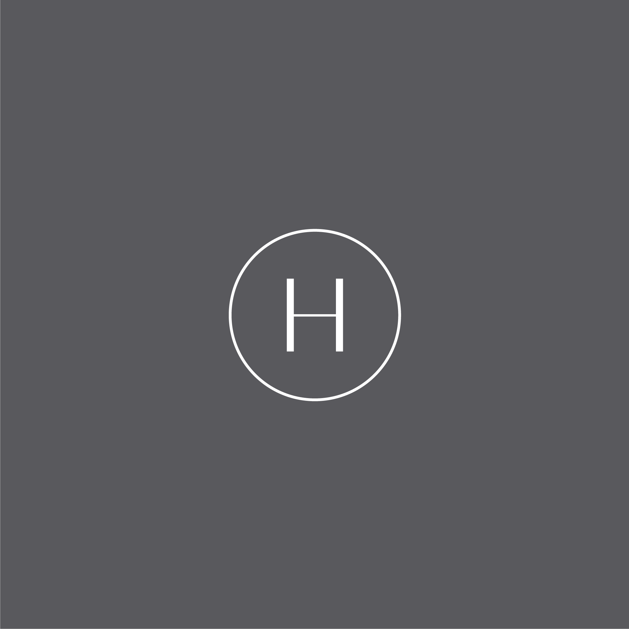 H monogram logo in a white outline circle on a grey background
