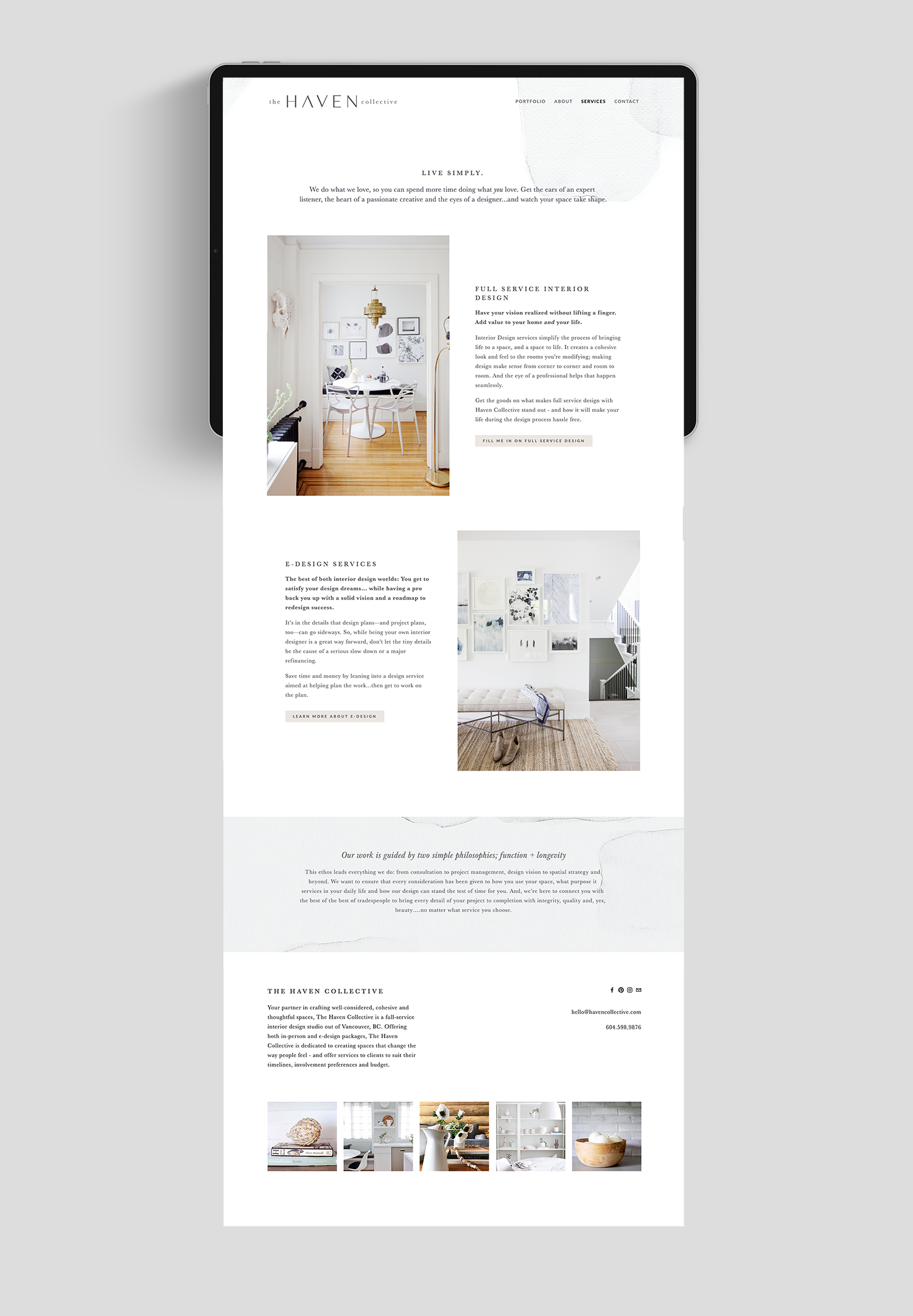 Mockup of The Haven Collective's website (services page) on an iPad with a soft pattern behind the main navigation