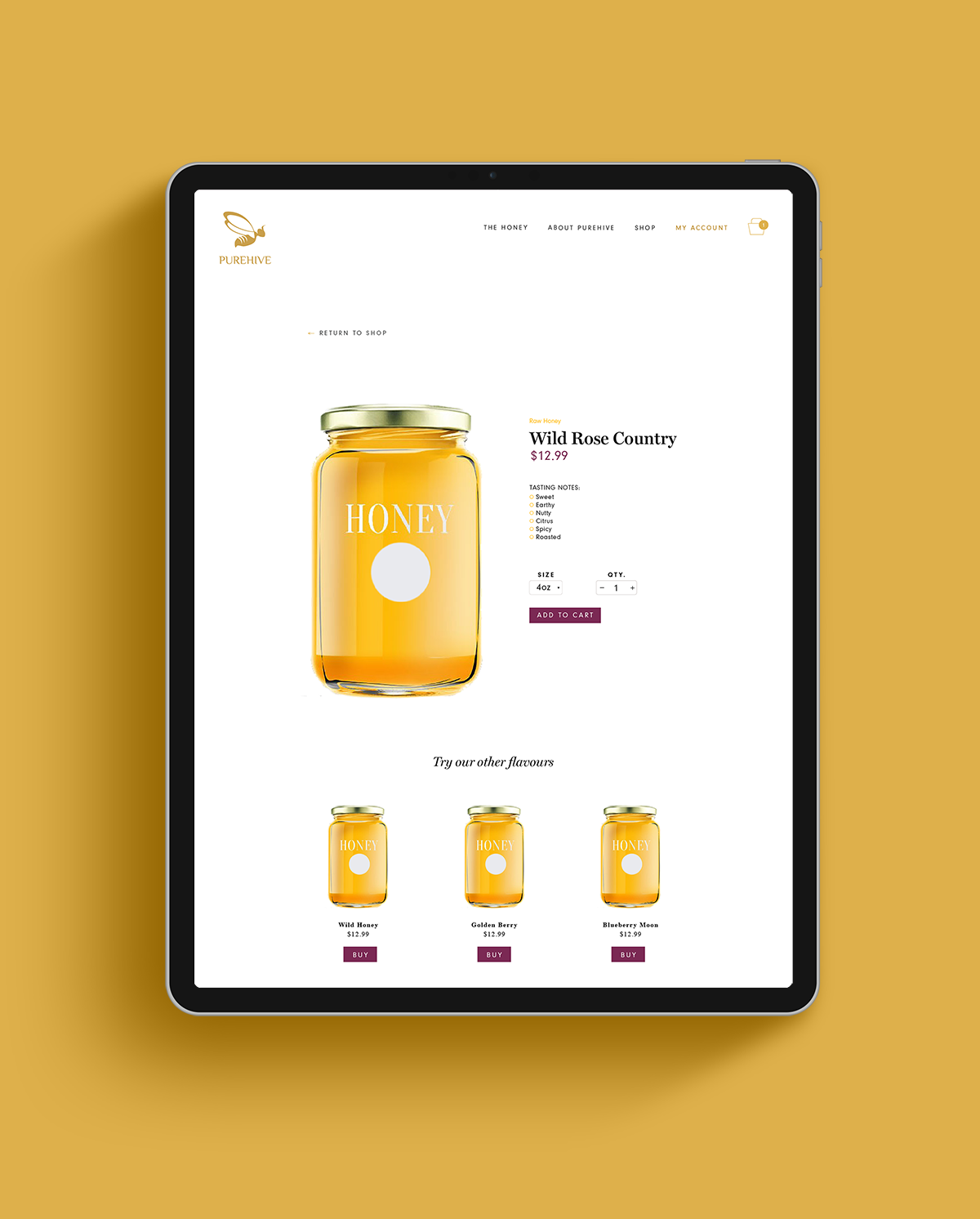 Purehive product page has been designed so that each button colour matches the product flavour.