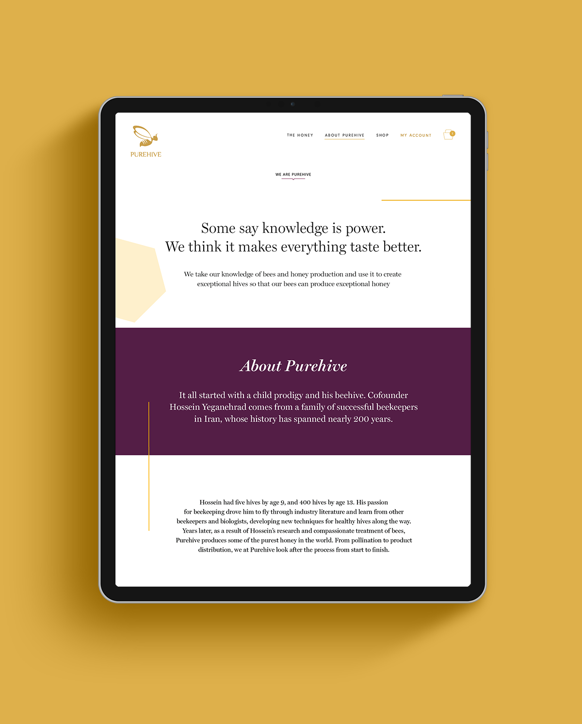 About Purehive page shown on a black iPad on a yellow background