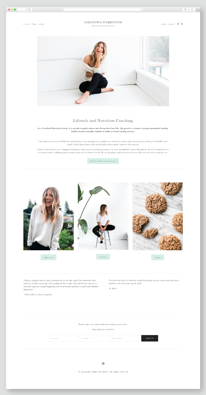 Samantha Stojkovich Squarespace Website updates