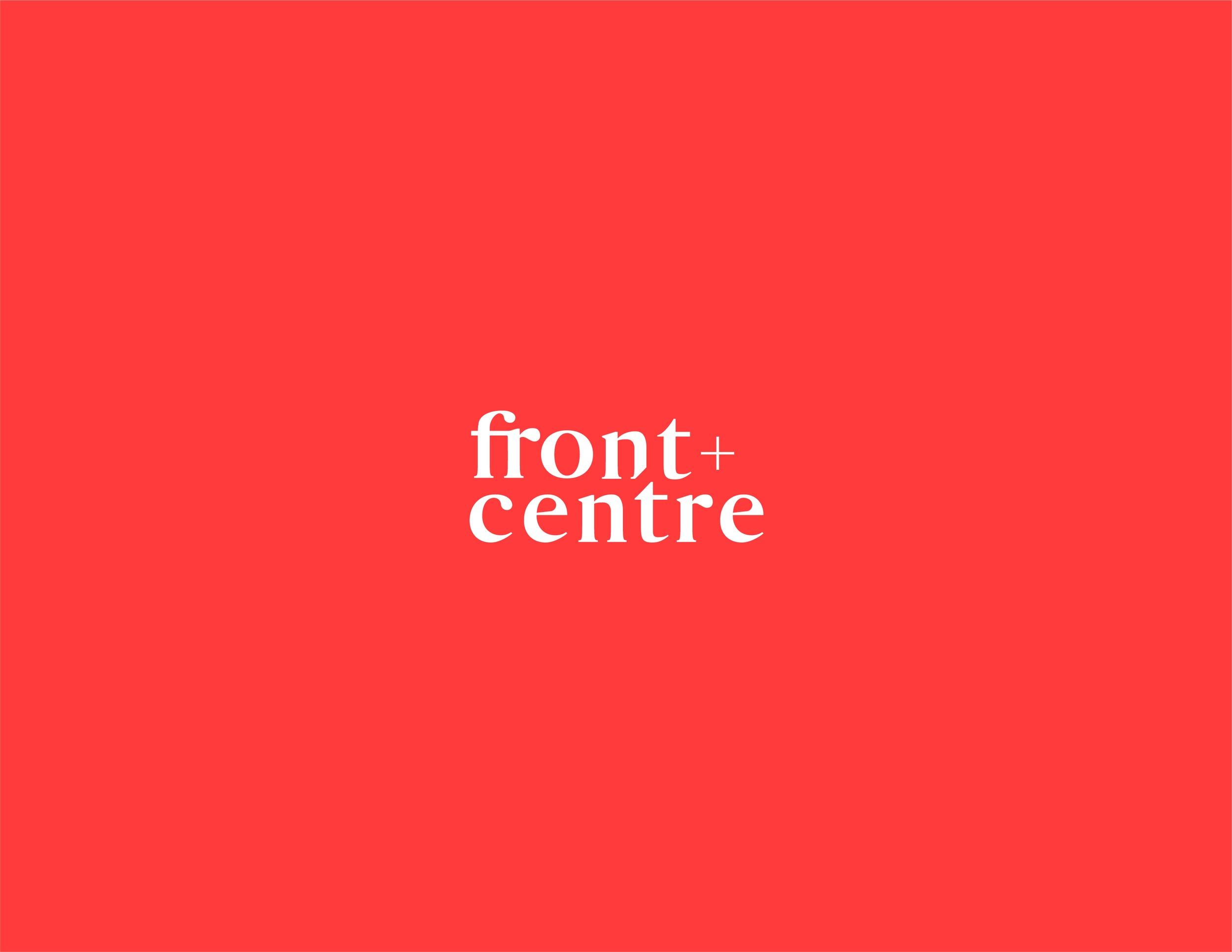 Front + Centre logo in white on a bright red (papaya) background