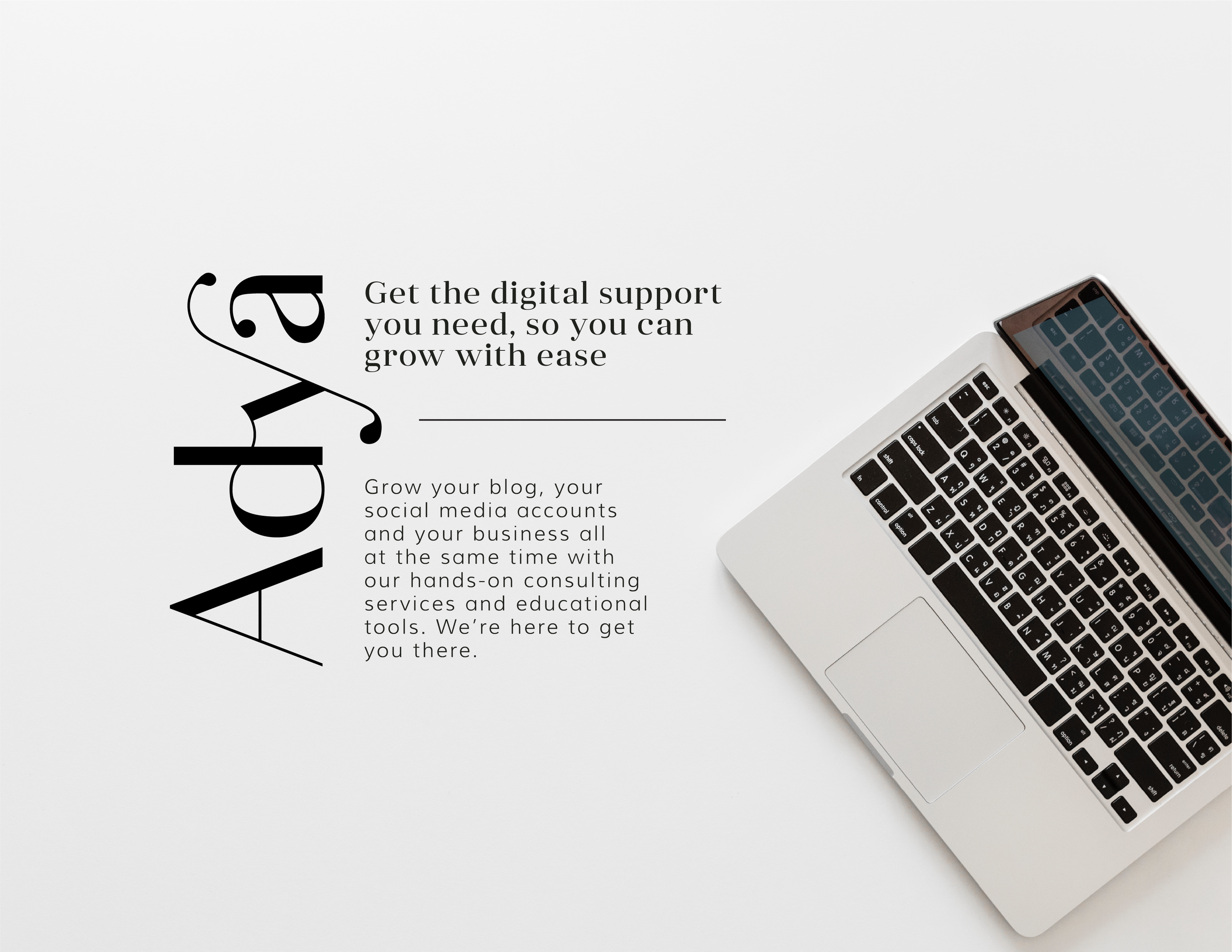 Adya logo and text on a photo of a laptop