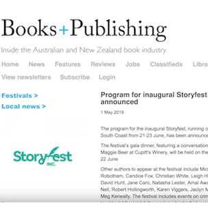 Inaugural StoryFest Announced - Books+Publishing - May 2019Read on . . .