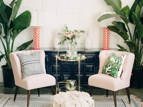 styled living room acrylic bar cart