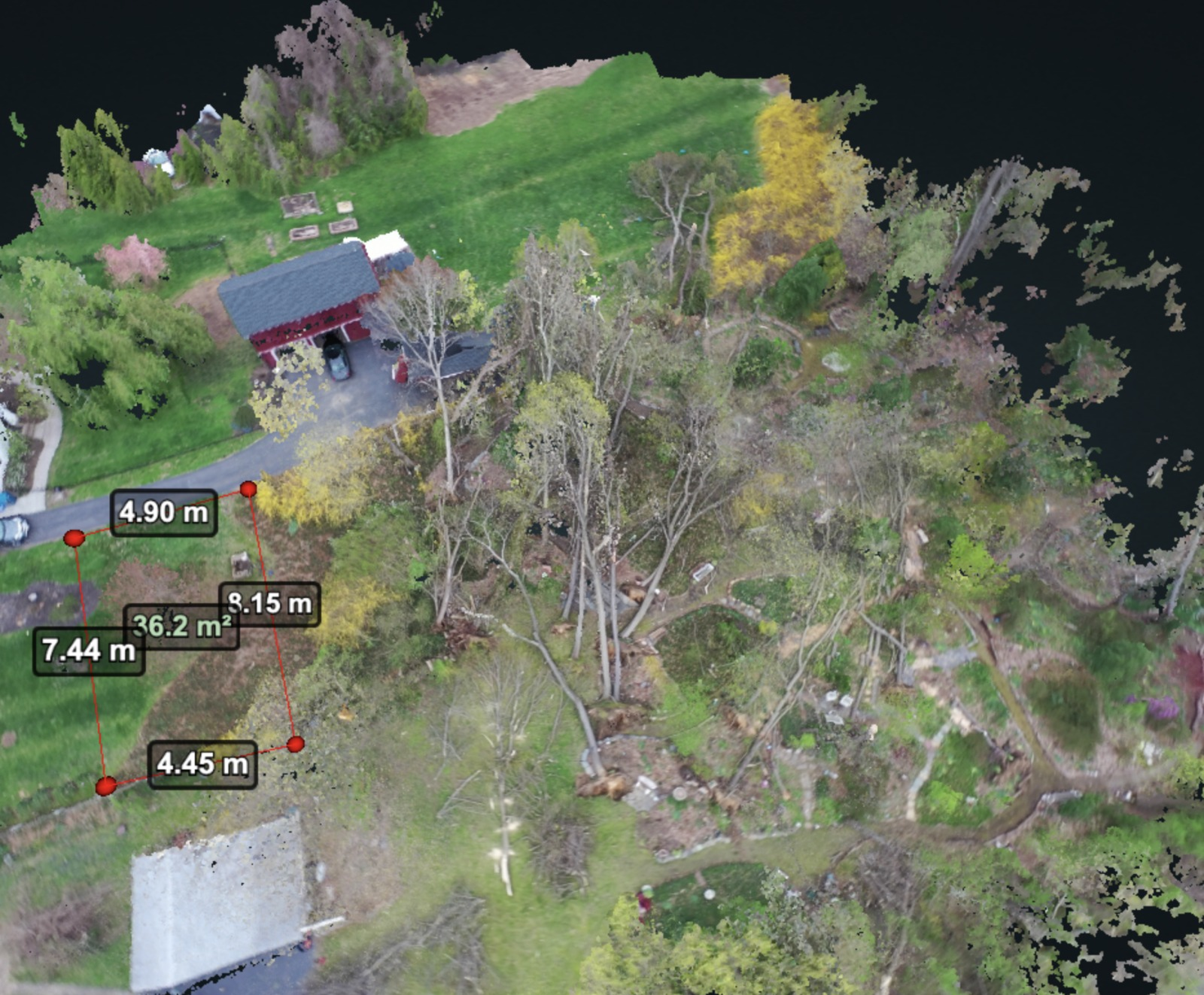 Property damage caused by microburst mapped out by flying SkyeBrowse