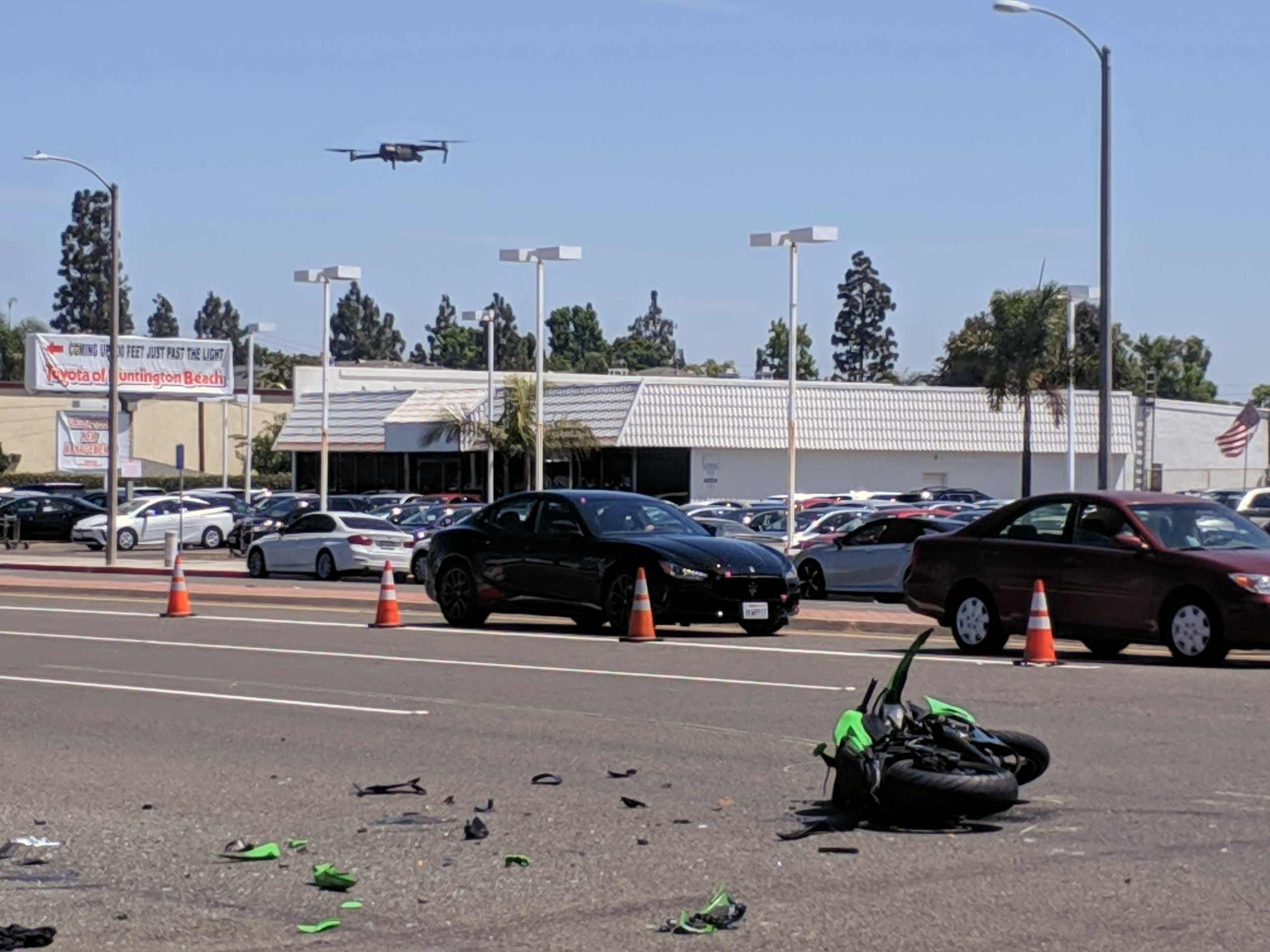 Fatal motorcycle collision being mapped out by a department flying SkyeBrowse