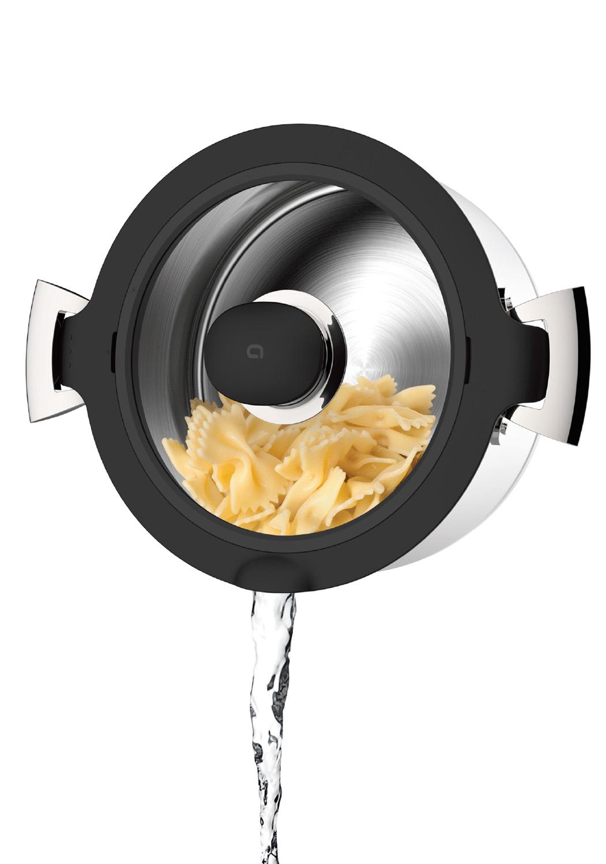 EN MODE ÉGOUTtoir - Retirez l'insert silicone, remettez le couvercle en verre et passez en mode égouttoir.• Idéal pour passer vos pâtes, riz et autres aliments liquides