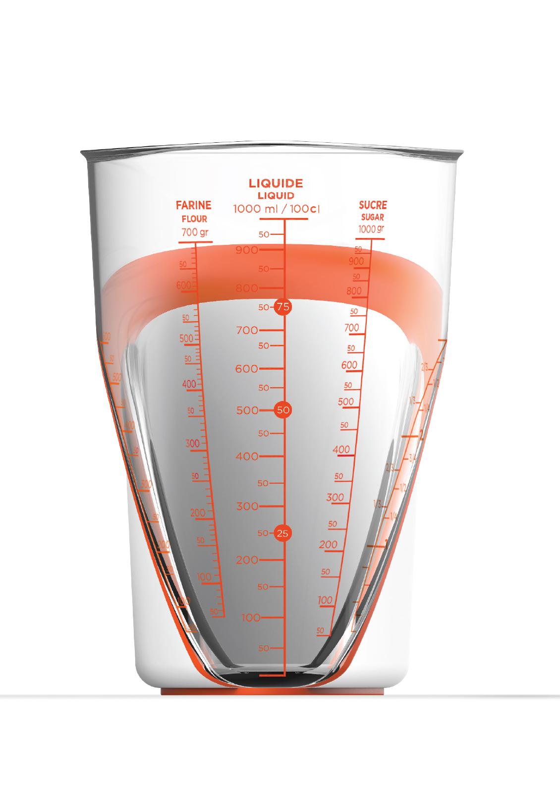 LE PICHET À MESURER MULTIFONCTION - Ce pichet à mesurer d'une capacité de 1 litre deviendra vite un indispensable. Avec ses cinq graduations et sa prise en main facile, il vous permettra préparer tout en clin d'oeil.•5 graduations (farine, riz, cups, liquide, sucre)