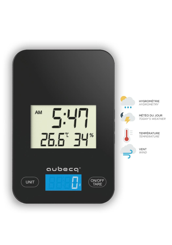 BALANCE MÉTÉo - • Météo du jour (hydrométrie, température, vent)• Balance plate• Ecran large• Base antiglisse001015 BALANCE méteo