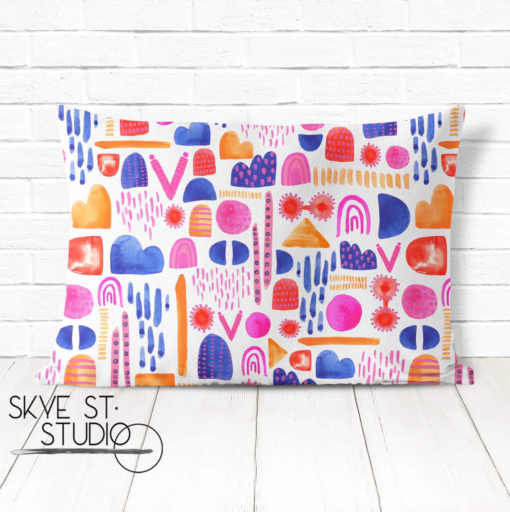 Painterly Geo Cushion Mockup
