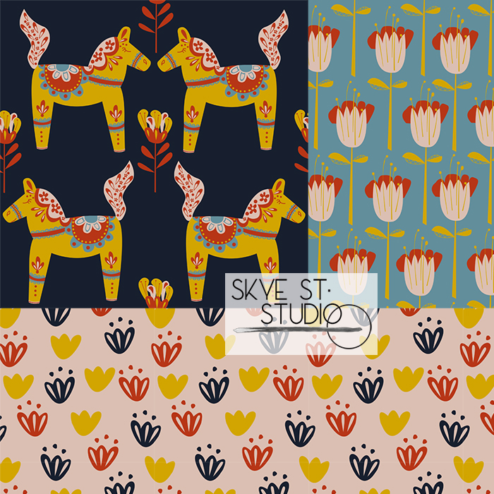 PATTERN OBSERVER WEBSITE FEATURE - My Scandi Kids collection was featured with work from other Textile Design Lab members on the Pattern Observer website. These designs were created for the Summer of Creativity course in 2018.