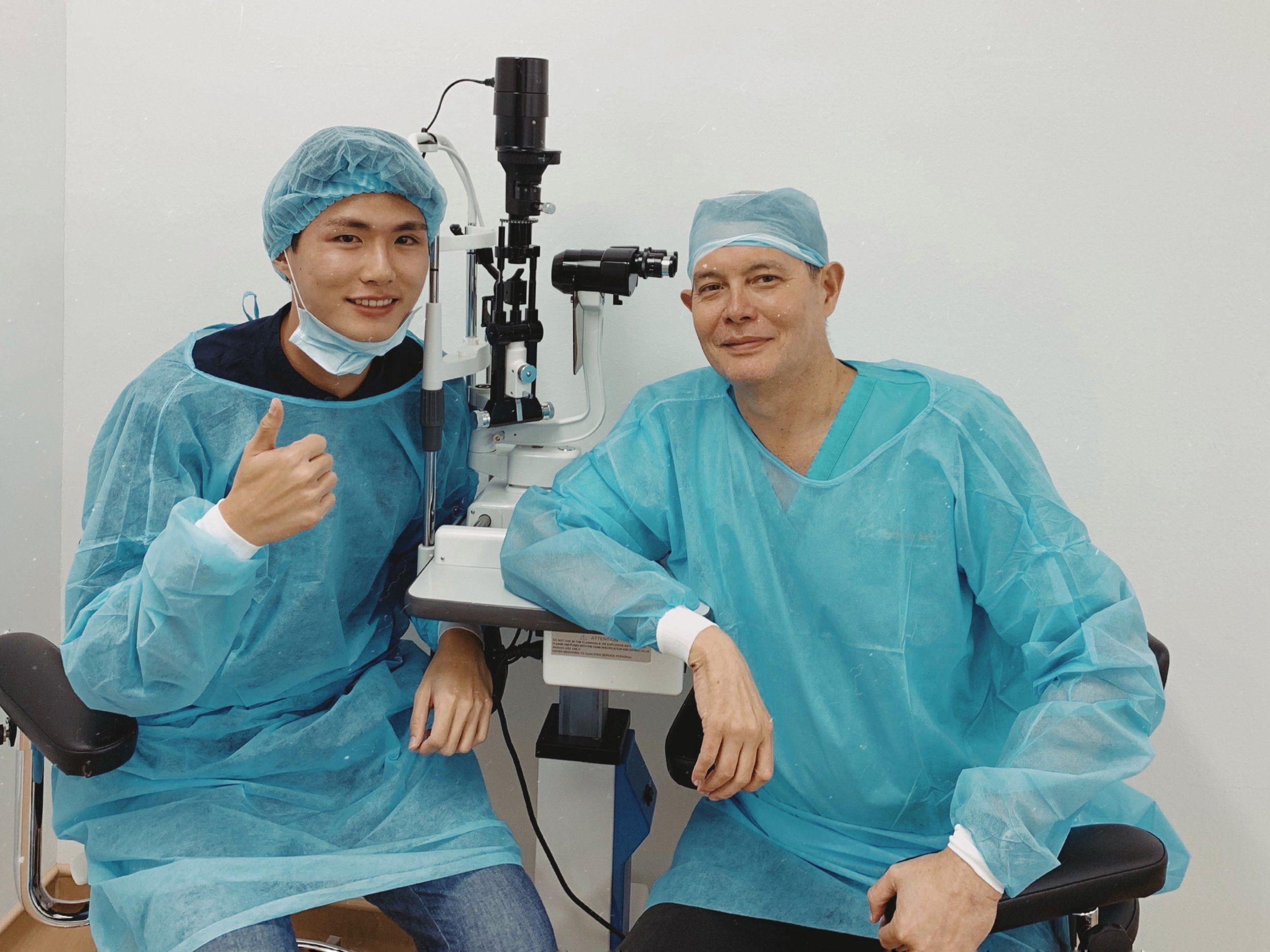 Photo with Dr Marc Tay right after the surgery. He did a check under the scope to ensure everything was fine before I was discharged.