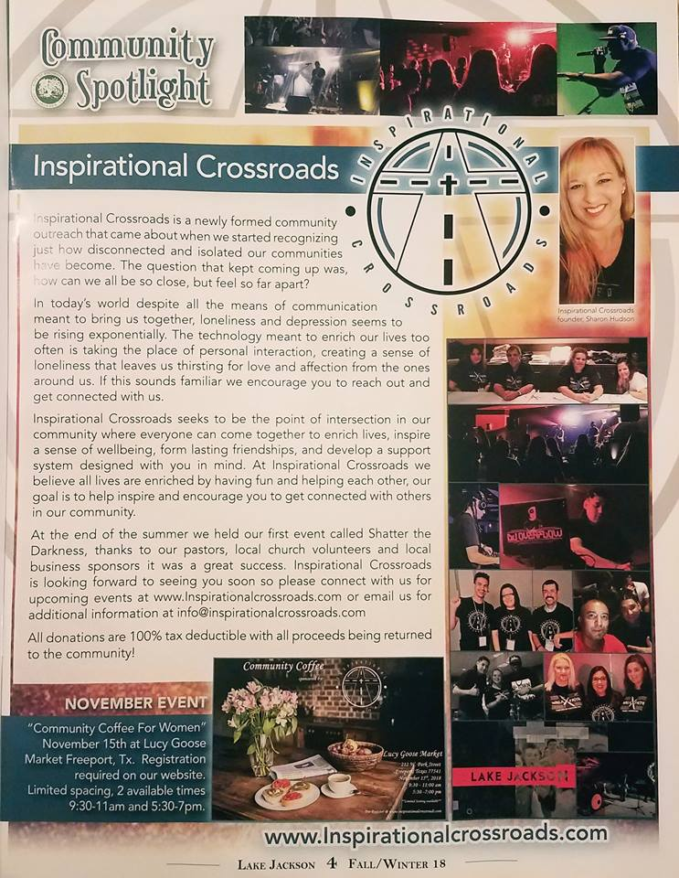 Inspirational Crossroads - Featured in the Lake Jackson Journal Fall/Winter 2018