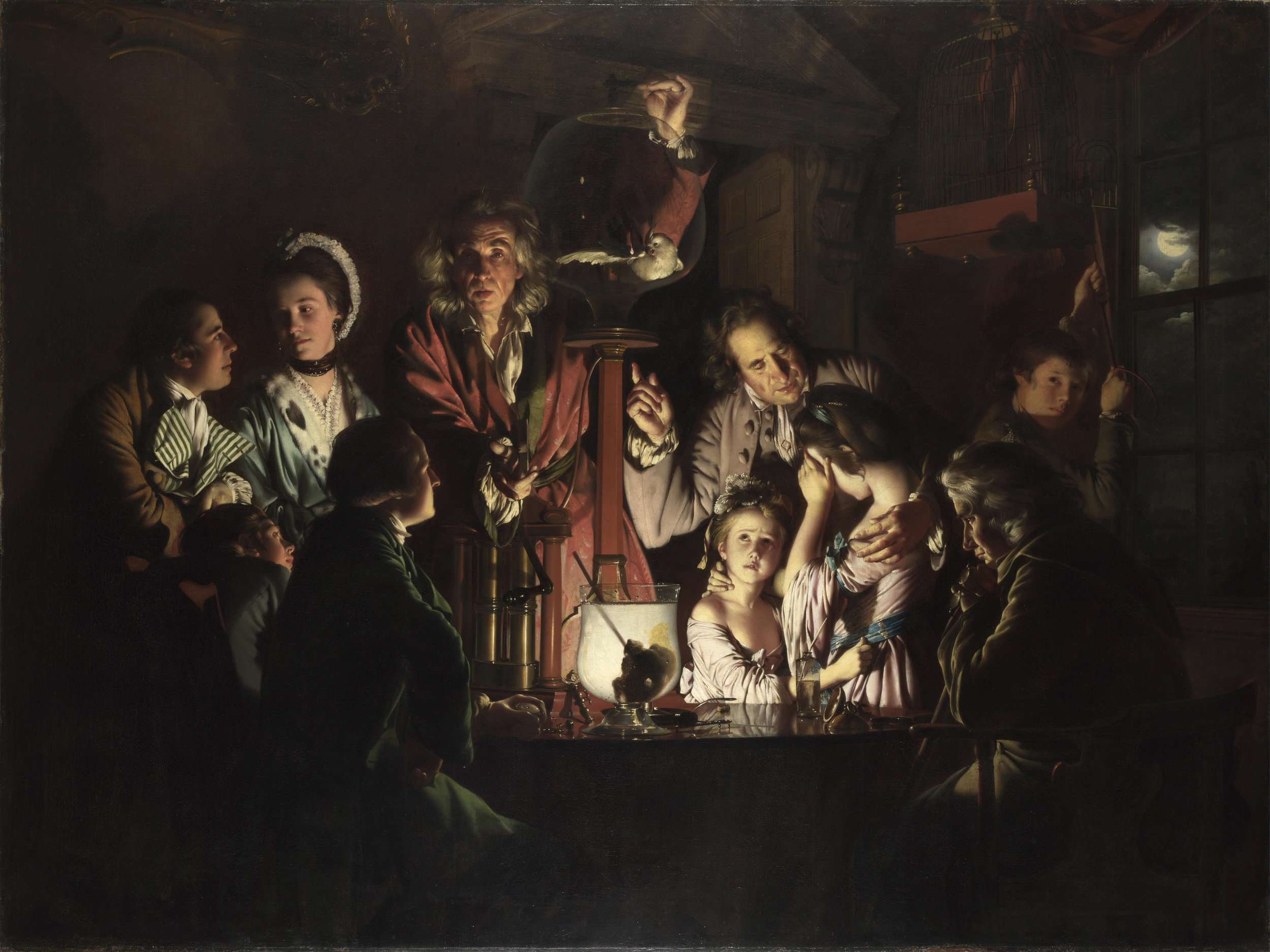 Joseph Wright de Derby: Experimento con pajarillo y bomba de aire, 1768.