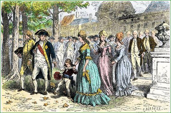 """""""Louis XVI y Marie Antoinette con su hijo el Delfín en las Tullerías"""".  París. Xilografía."""