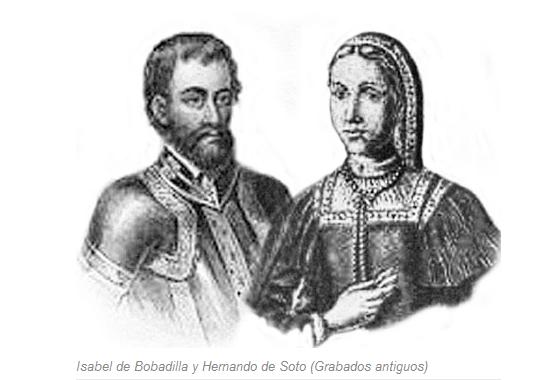 Isabel de Bobadilla y Hernando de Soto. Grabado antiguo.