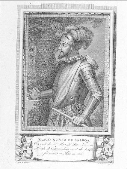 """Retrato de Vasco Núñez de Balboa (S.XVIII) Autor: J. Maea en un libro de 1791 """"Retrato de españoles ilustres""""."""
