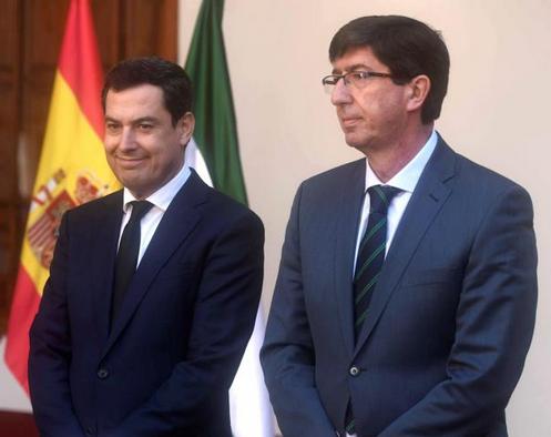 Presidente de la Junta de Andalucía, Juanma Moreno y Vicepresidente, Juan Marín. Foto: Rafa Alcaide.