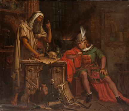 Don Pedro I de Castilla consulta su horóscopo a un moro sabio de Granada llamado Ben-Agatim. Colección. Museo Nacional del Prado. Madrid.