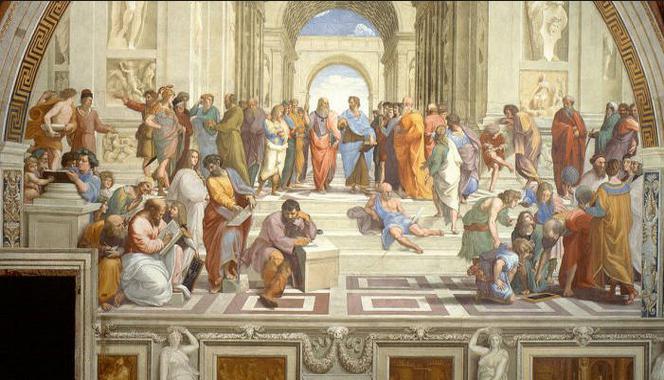 """""""La Escuela de Atenas"""". Rafael Sanzio. Epicuro aparece a la izquierda leyendo un libro junto a Zenon de Citio. Museos Vaticanos. Ciudad del Vaticano."""