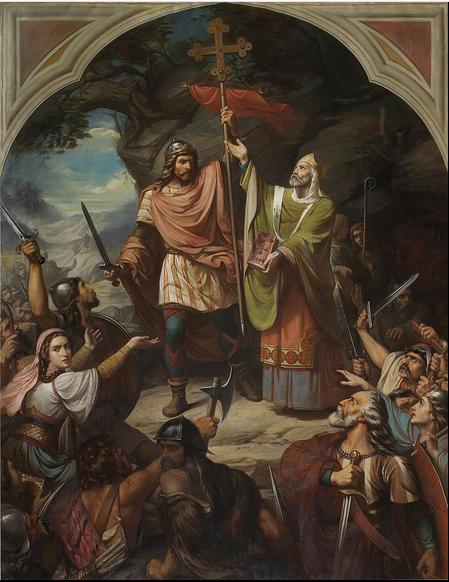 El Rey Don Pelayo en Covadonga (1855) Luis Madrazo. Museo del Prado Madrid.