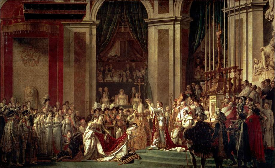 """""""La coronación de Napoleón"""" (1805-1807) Jacques-Louis David. Neoclasicismo. Notre Dame. Museo del Louvre. París."""