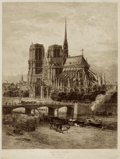 Catedral de Notre Dame de París. Grabado de Alfred Alexandre Delauney. Fotografía de la Biblioteca del Congreso de Estados Unidos.